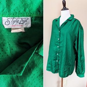 Vintage kelly green plus size made in USA blouse